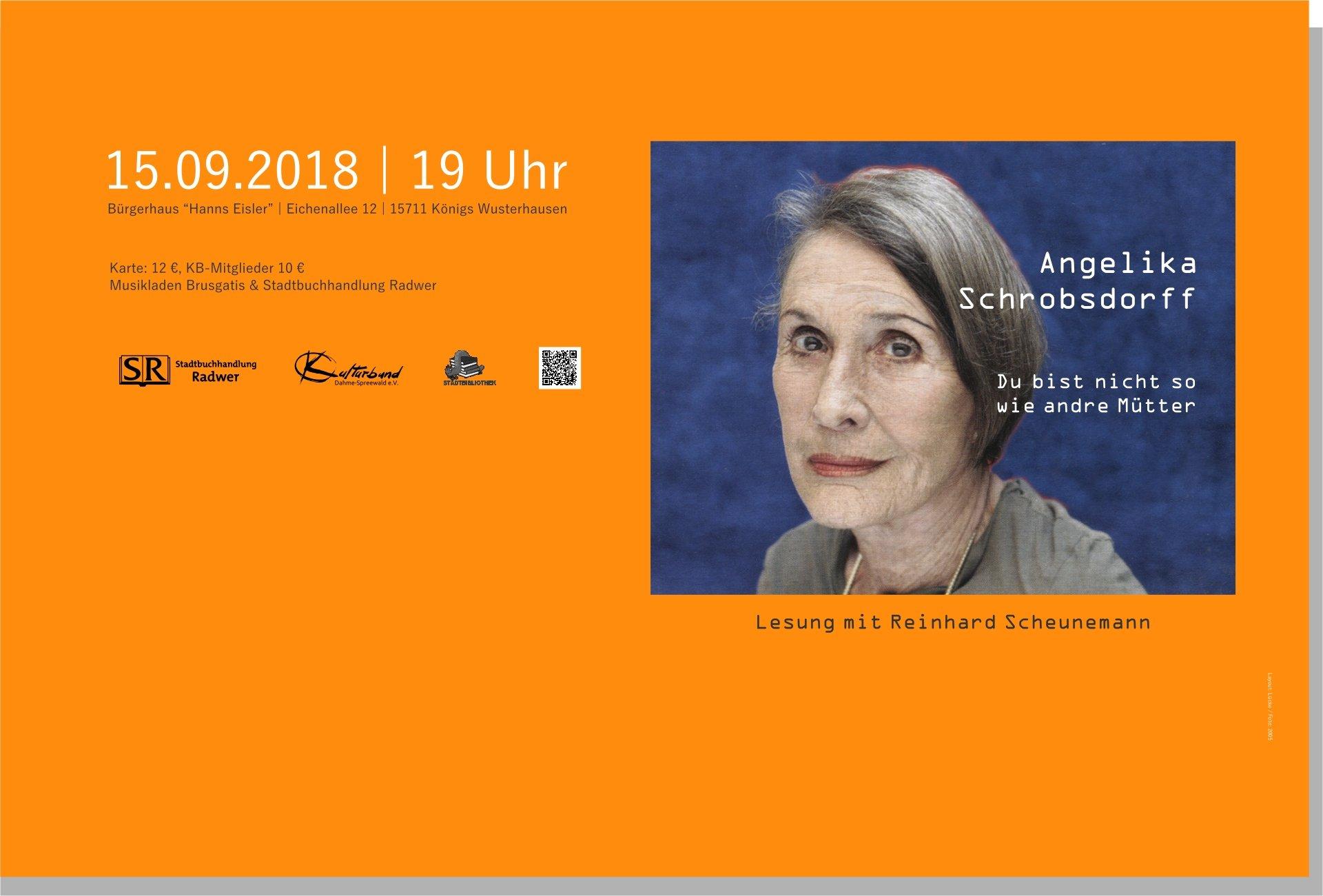 """Lesung: Angelika Schrobsdorff – """"Du bist nicht so wie andre Mütter"""""""
