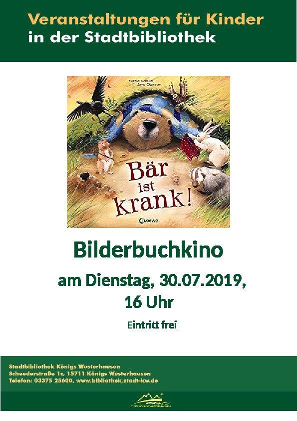 Vorlesestunde in der Stadtbibliothek: Bär ist krank!